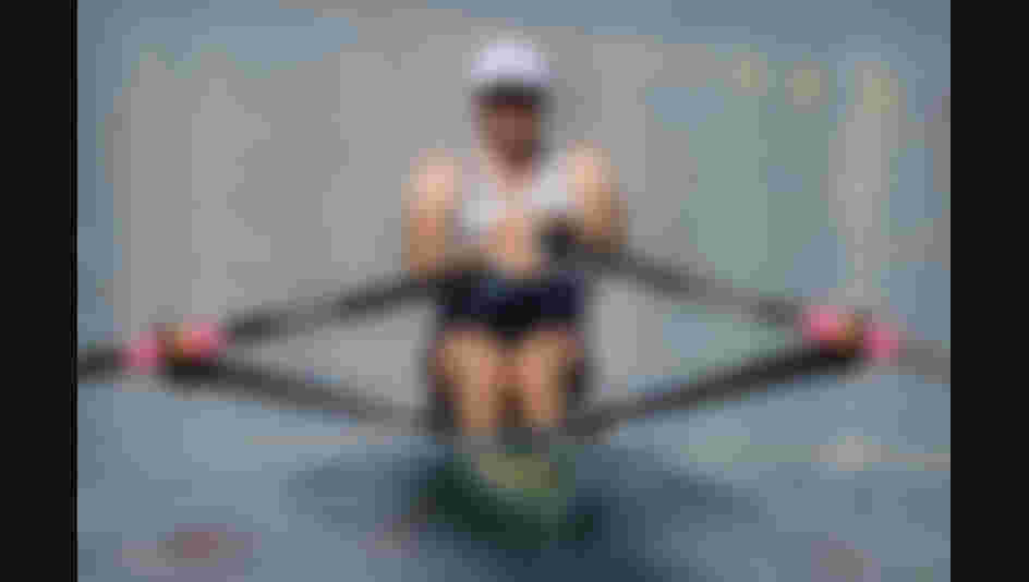Alan Campbell of Great Britain competes during the Men's Single Sculls Heat 2 on Day 1 of the Rio 2016 Olympic Games.