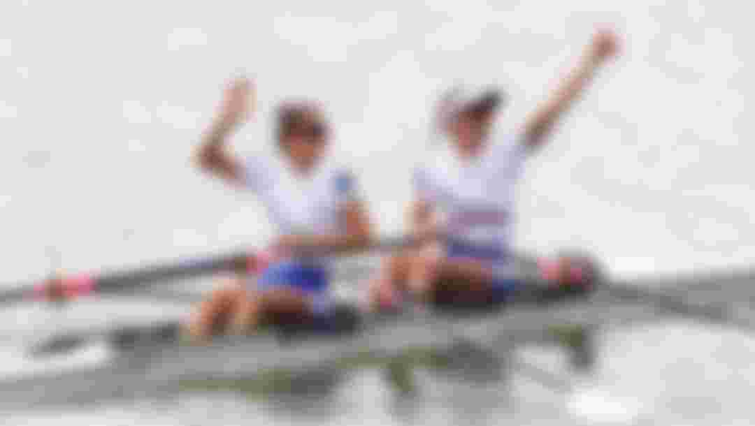 LINZ, AUSTRIA - AUGUST 29: Imogen Grant and Emily Craig celebrate after they come 2nd in the Women's Lightweight Single Sculls Semi Final A/B race and qualify their boat for the Tokyo 2020 Olympics during Day Five of the 2019 World Rowing Championships on August 29, 2019 in Linz-Ottensheim, Austria.