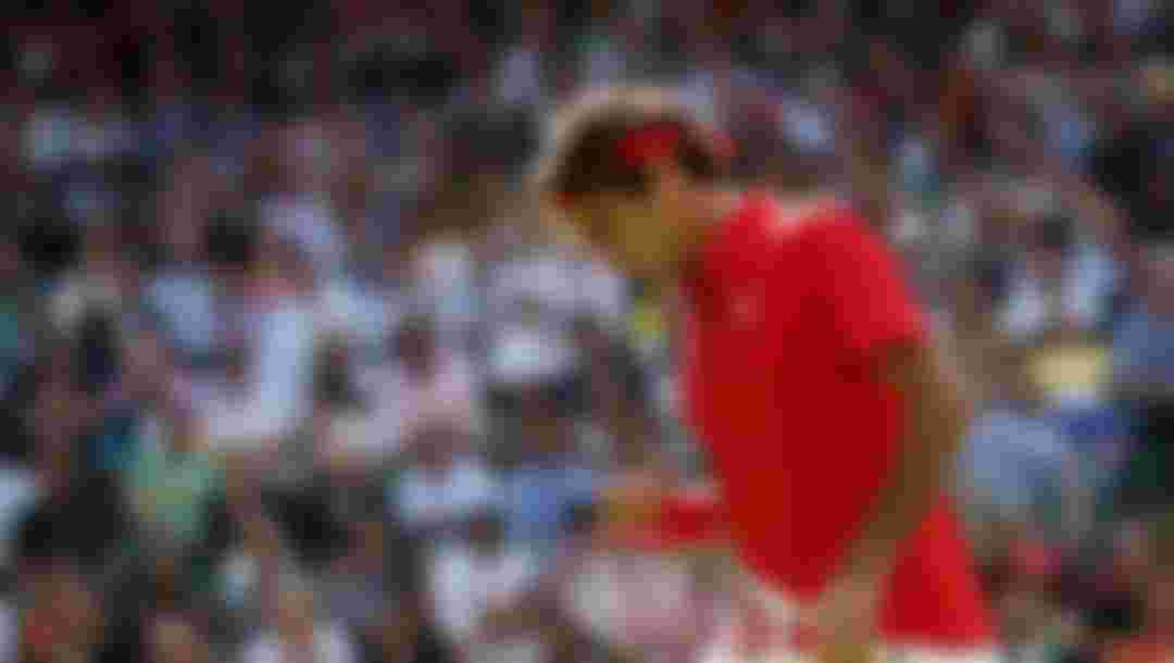 Roger Federer of Switzerland celebrates a point against Juan Martin Del Potro of Argentina in the semi-final of Men's Singles Tennis at the London 2012 Olympic Games. Federer defeated Del Potro 4-6, 7-6, 19-17.