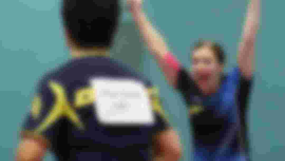 Michelle Bromley celebrating winning the Australian Olympic qualification event.