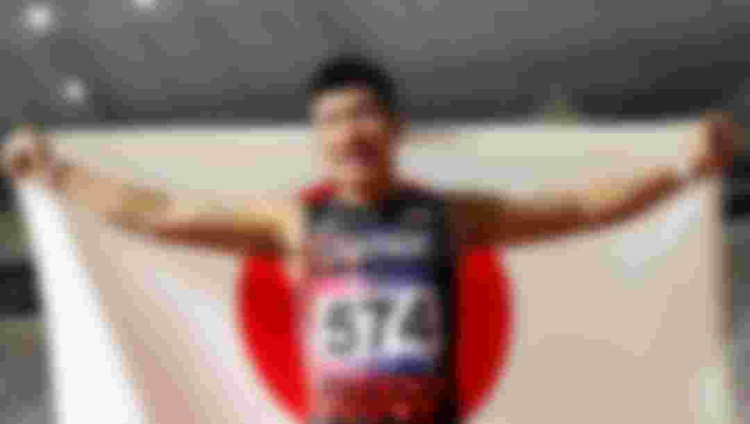 Yoshihide Kiryu of Japan  celebrates after winning the men's 100m final at the 23rd Asian Athletics Championships at Khalifa International Stadium in Doha, Qatar in 2019. (Photo by Francois Nel/Getty Images)