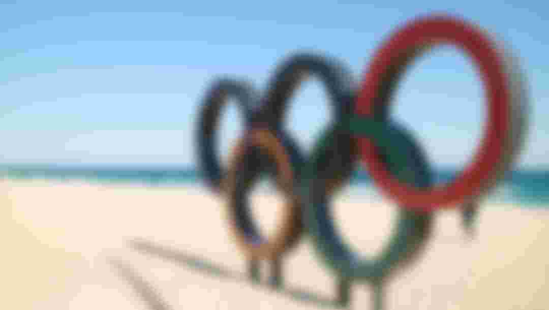 Gangneung, South Korea - 17 FEBRUARY, 2018 : General view of the Olympic Symbol on Gyeongpo Beach during the PyeongChang 2018 Winter Olympic Games.