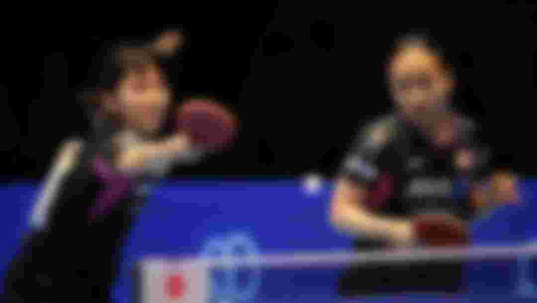 Hirano Miu and Ito Mima of Japan compete against Jiang Huajun and Tie Yana of Hong Kong,China during the Women's doubles semi-final match at the 2015 ITTF Asian Table Tennis Championships