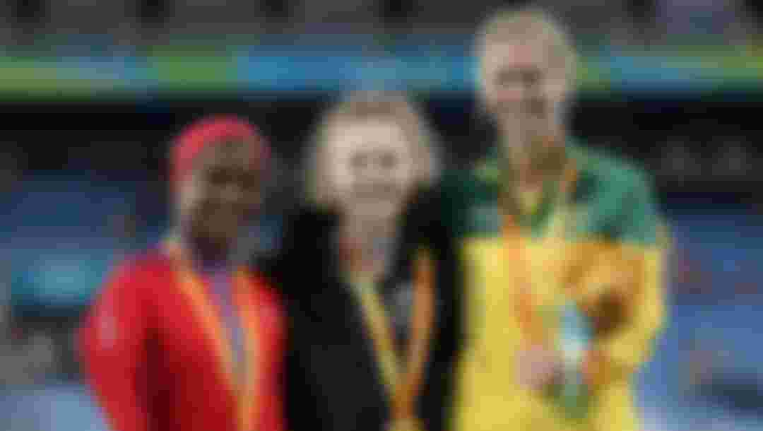 (L-R) Yunidis Castillo of Cuba, Anna Grimaldi of New Zealand and Carlee Beattie of Australia pose on the medals podium after the ceremony for the women's long jump T47 at the Rio 2016 Paralympic Games (Photo by Matthew Stockman/Getty Images)