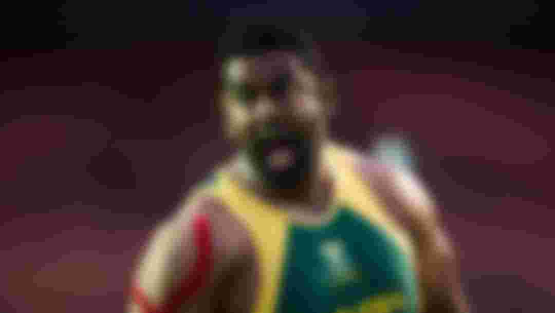 Tyrone Pillay of South Africa in action during the Men's Shot Put series at Ibirapuera Sports Complex on 24 April 2014 in Sao Paulo, Brazil. (Photo by Jonne Roriz /Getty Images)