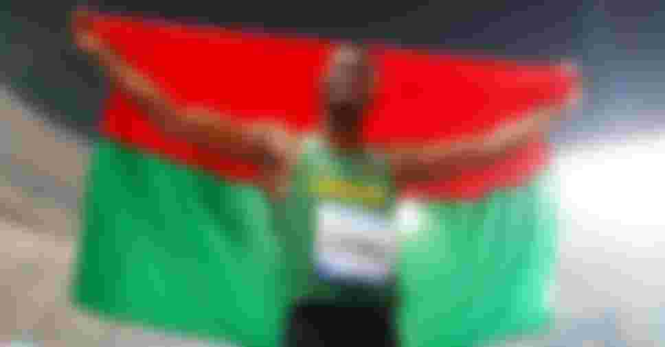 Hugues Fabrice Zango of Burkina Faso celebrates winning bronze after the Men's Triple Jump at the 17th IAAF World Athletics Championships Doha 2019 (Photo by Michael Steele/Getty Images)