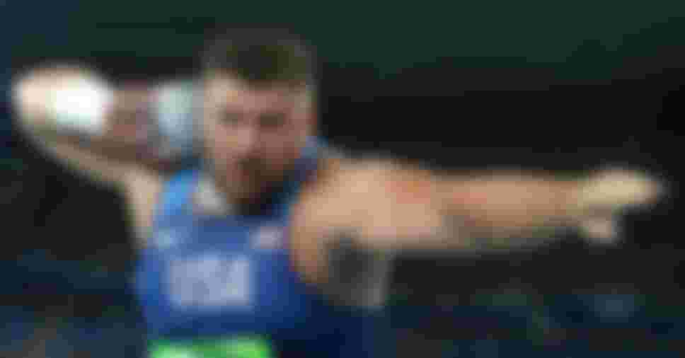 Joe Kovacs of the United States competes during the Men's Shot Put Final at the Rio 2016 Olympic Games (Photo by Alexander Hassenstein/Getty Images)