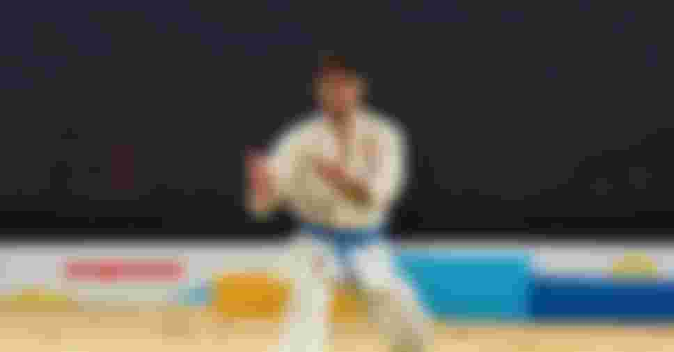 Damian Quintero of Spain competes in the Men's Individual Kata event during the ANOC World Beach Games (Photo by Mark Runnacles/Getty Images for ANOC)