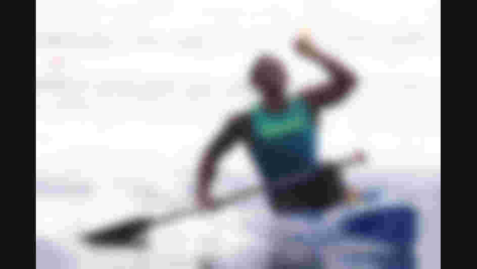 Isaquias Queiroz dos Santos of Brazil celebrates after competing during the Men's Canoe Single 1000m Final A on Day 11 of the Rio 2016 Olympic Games.