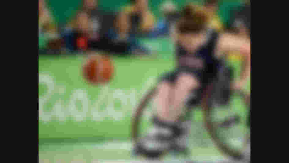 RIO DE JANEIRO, BRAZIL - SEPTEMBER 16: Rebecca Murray of United States competes during the Womens Wheelchair Basketball gold medal match between United States and Germany on day 9 of the Rio 2016 Paralympic Games at the Rio Olympic Arena on September 16, 2016 in Rio de Janeiro, Brazil.  (Photo by Raphael Dias/Getty Images)
