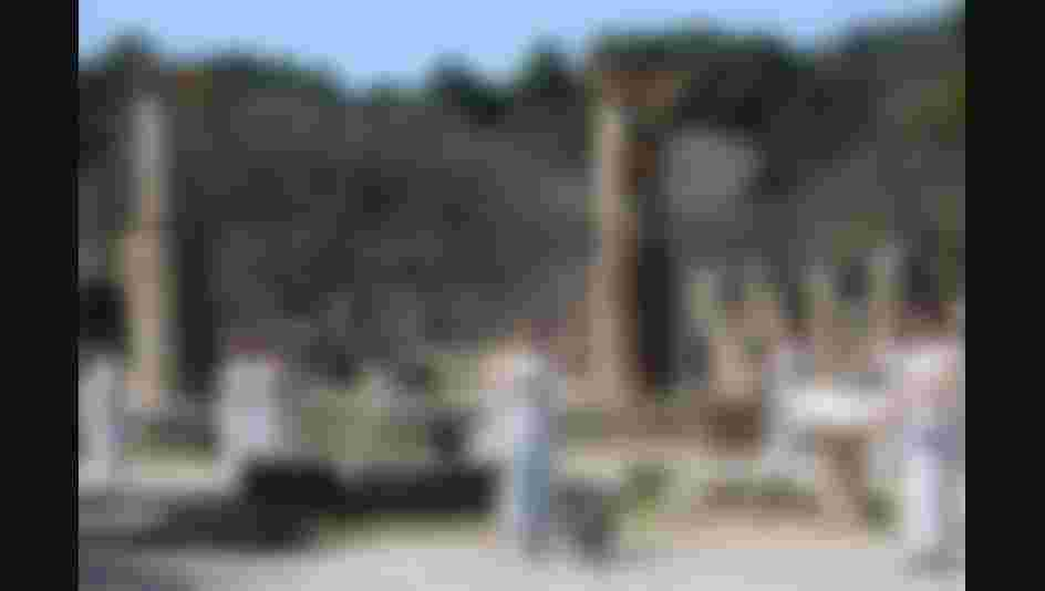 The Olympic Torch lighting ceremony in Olympia, Greece