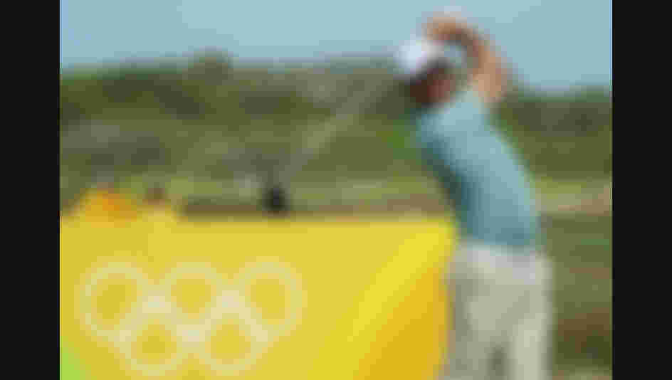 Jaco van Zyl of South Africa watches his tee shot on the ninth hole during the third round of the golf on Day 8 of the Rio 2016 Olympic Games.