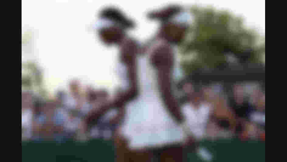 Serena Williams and Venus Williams in action at Wimbledon 2010.  (Photo by Hamish Blair/Getty Images)