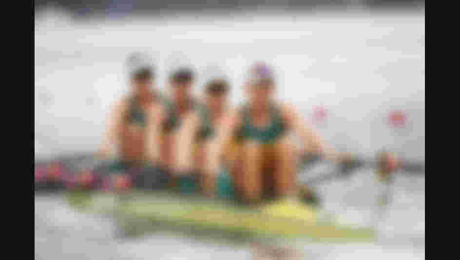 Jessica Hall of Australia, Kerry Hore of Australia, Jennifer Cleary of Australia and Madeleine Edmunds of Australia compete in the Women's Quadruple Sculls Repechage 1 on Day 3 of the Rio 2016 Olympic Games.
