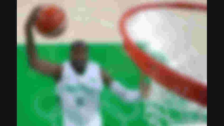 Michael Umeh of Nigeria puts up a shot during a Men's preliminary round basketball game between Nigeria and Argentina on Day 2 of the Rio 2016 Olympic Games.