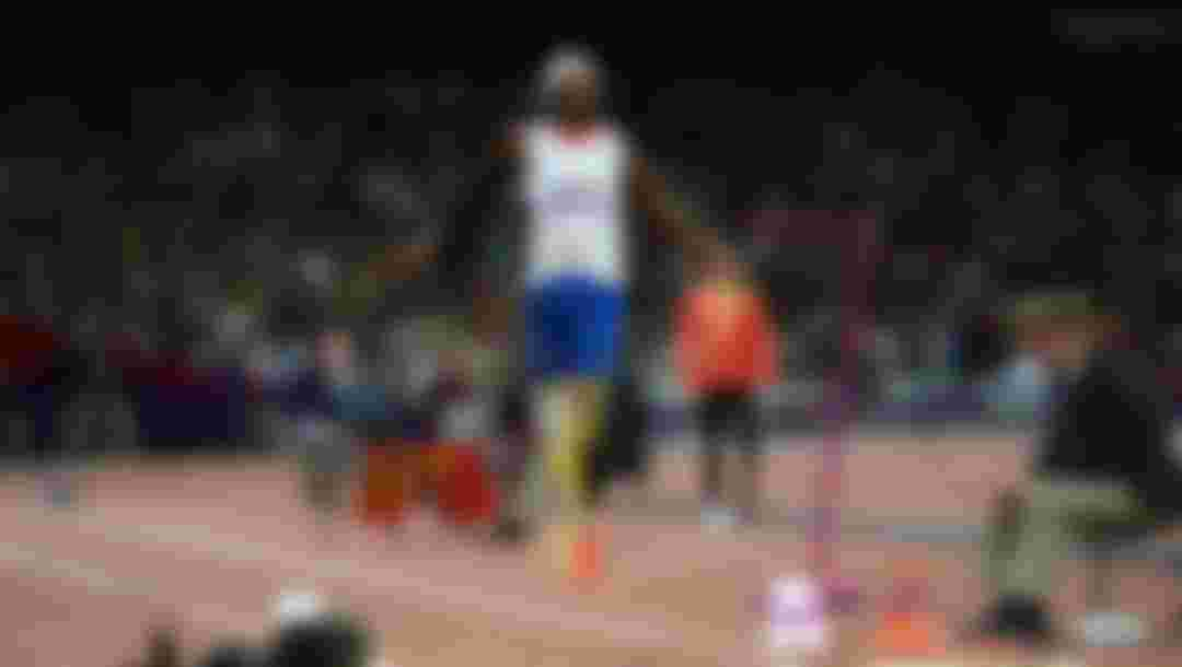 Jean-Baptiste Alaize of France competes in the Men's Long Jump - F42/44 Final at the London 2012 Paralympic Games