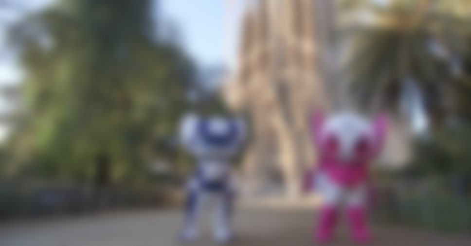 Miraitowa and Someity visit the Sagrada Familia basilica in Barcelona