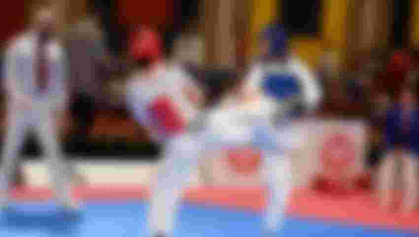 All images credit to World Taekwondo Federation - In this image you see a female fighter (blue) with kick attempt at female fighter (blue) who  simultaneously attacks via kick